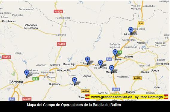 MAPA CAMPO DE OPERACIONES BATALLA DE  BAILEN