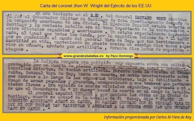 CARTA DE WRIGHT ELOGIANDO LA DEFENSA DEL CANEY
