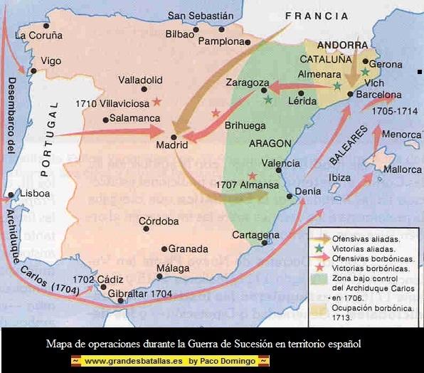 MAPA DE OPERACIONES GUERRA DE SUCESION EN TERRITORIO ESPAÑOL