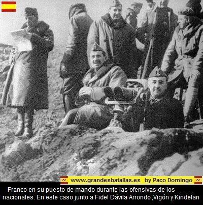 FRANCO EN SU PUESTO DE MANDO DURANTE LA OFENSIVA NACIONAL EN LA BATALLA DEL EBRO