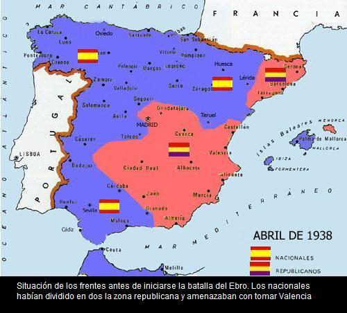 MAPA DE OS RENTES ATES DE LA BATALLA DEL EBRO