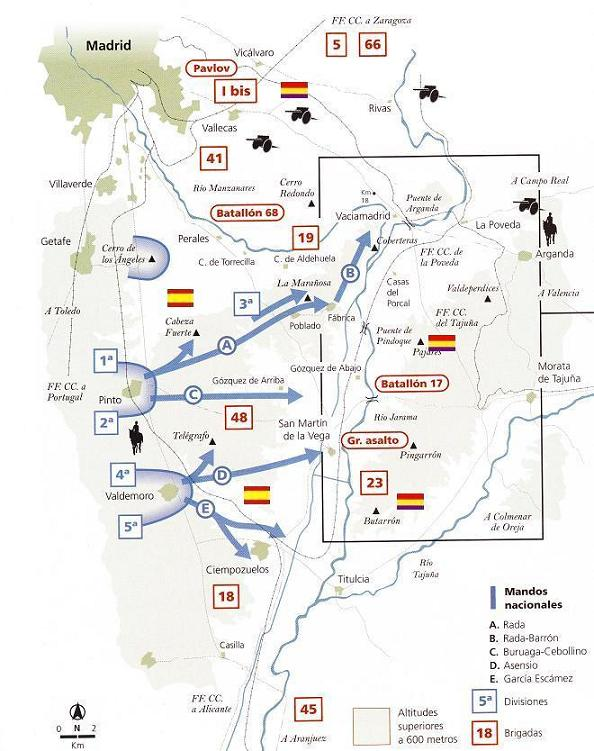 MAPA DE OPERACIONES BATALLA DEL JARAMA