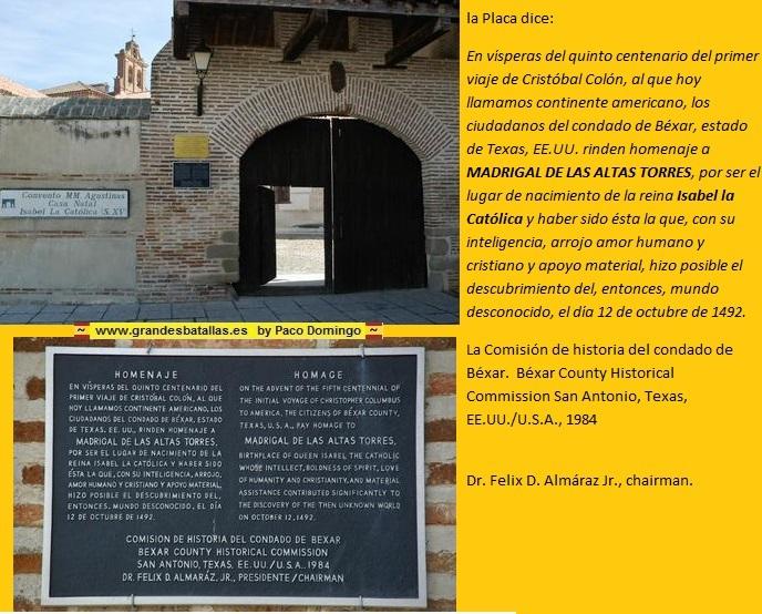 PLACA MADRIGAL DE LAS ALTAS TORRES EN HONOR DE LA RTEINA ISABEL