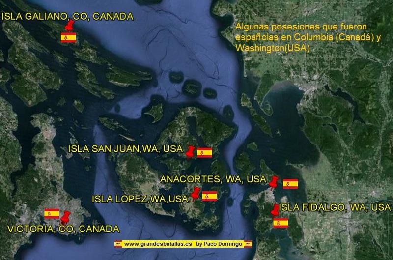 POSESIONES ESPAÑOLAS EN CANADA Y WASHINGTON