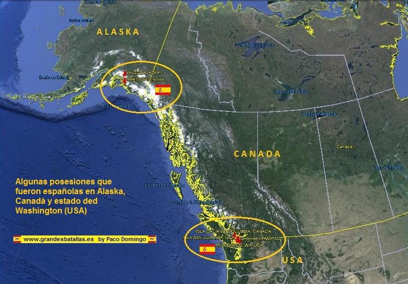 POSESIONES ESPAÑOLA EN CANADA ALASCA Y WASHINGTON